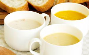 コーンクリームスープ(180g 税込324円)パンプキンスープ(180g 税込324円)クラムチャウダー(180g 税込324円)